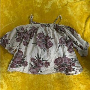 off the shoulder short sleeve floral top